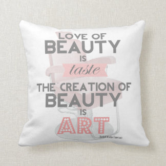Beauty is Art Vintage Cosmetologist Throw Pillow