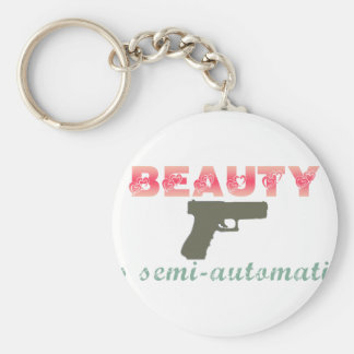 Beauty is semi-automatic basic round button keychain