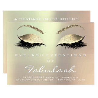Beauty Lashes Extension Aftercare Instruction Glam Card