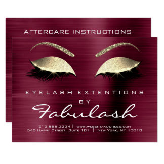 Beauty Lashes Extension Salon Aftercare Burgundy 1 Card