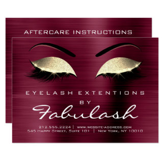 Beauty Lashes Extension Salon Aftercare Burgundy Card