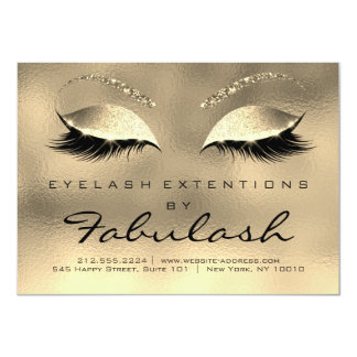 Beauty Lashes Extension Salon Aftercare Gold Eyes Card