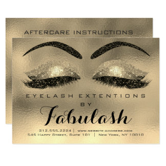 Beauty Lashes Extension Salon Aftercare Gold Lux Card