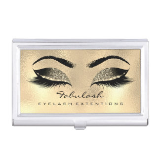 Beauty Lashes Makeup Artist Faux Gold Browns Wax Business Card Holder