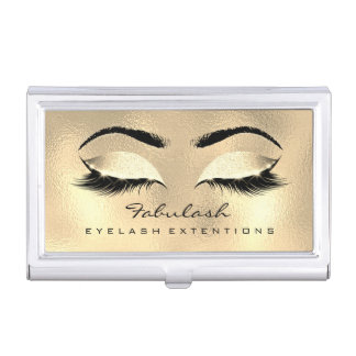 Beauty Lashes Makeup Artist Gold Browns Glass Wax Business Card Holder