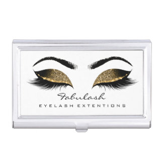 Beauty Lashes Makeup Artist White Gold Browns Wax Business Card Holder