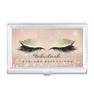 Beauty Lashes Makeup Rose Gold Glam Glitter Case For Business Cards