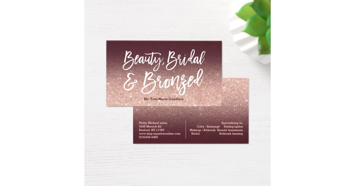 Beauty logo chic typography burgundy rose gold business card ...