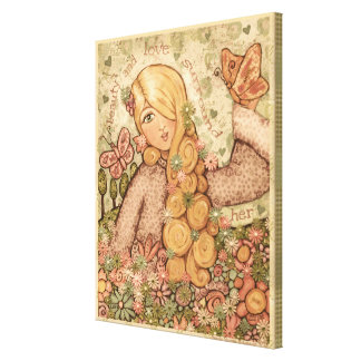 Beauty & Love Blonde Angelic Lady Wrapped Canvas Canvas Print