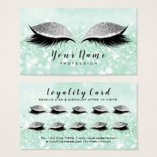 Beauty Loyalty Card 10 Makeup Lashes Mint Glitter