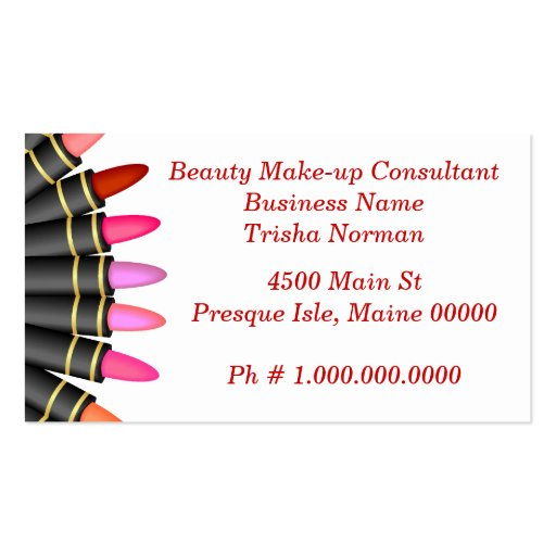 Beauty make up consultant double sided standard business for Beauty business card templates