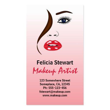 Chic Makeup Face Stylish Beauty Salon Business Cards Template