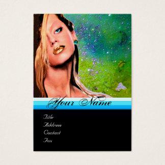 BEAUTY MAKEUP ARTIST monogram blue sapphire Business Card