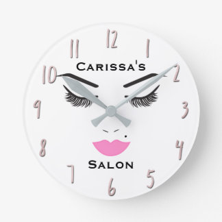 Beauty Makeup Face Lashes & Pink Lips Salon Clock
