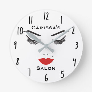 Beauty Makeup Face Lashes & Red Lips Salon Clock