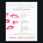 """Beauty &amp; Makeup Flyer<br><div class=""""desc"""">Gorgeous professional flyer with original illustrations of lipstick complete with text that is ready to be modified by you. Personalize the flyer and market your business. To find coordinates with the same print look for the keyword &quot;angelica&quot; in our shop.</div>"""