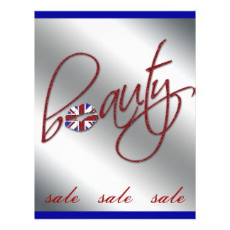 Beauty Makeup Flyer Union Jack Flag Red Silver