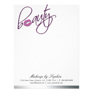 Beauty Makeup Letterhead Sparkle Lips Purple Pink
