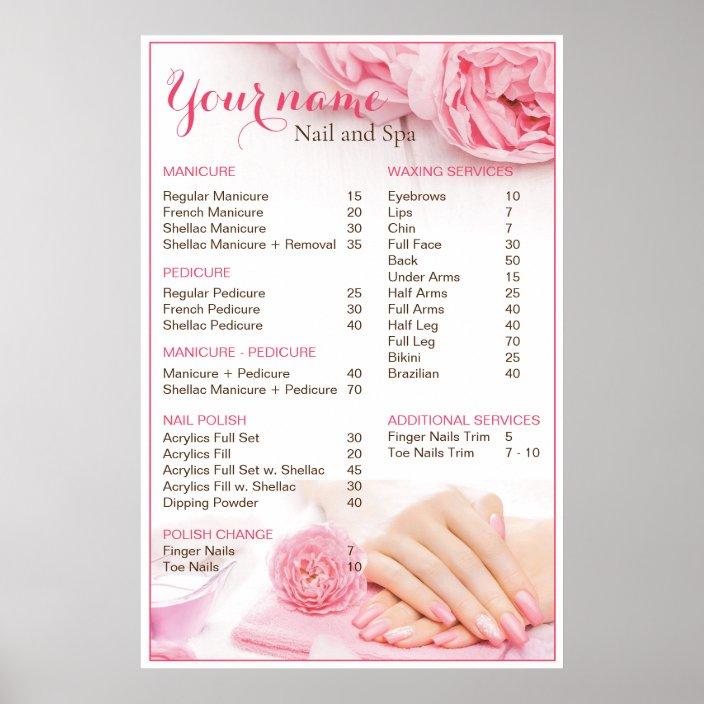 Beauty Nail Salon Price List Poster