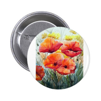 BEAUTY OF FLOWER POPPIES , WATERCOLOR PAINTING BUTTON