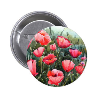 BEAUTY OF FLOWER POPPIES - WATERCOLOR PAINTING PINBACK BUTTON
