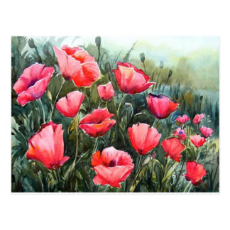 BEAUTY OF FLOWER POPPIES - WATERCOLOR PAINTING POSTCARD