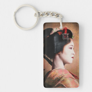 Beauty of Geisha - cool oriental japanese painting Double-Sided Rectangular Acrylic Keychain