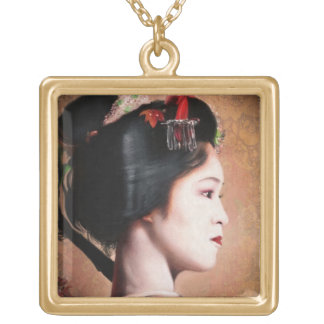 Beauty of Geisha - cool oriental japanese painting Gold Plated Necklace