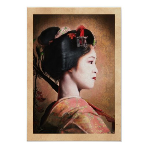Beauty of Geisha - cool oriental japanese painting Poster