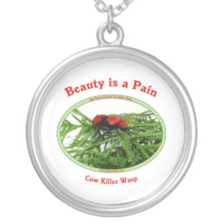 Beauty Pain Cow Killer Wasp Round Pendant Necklace