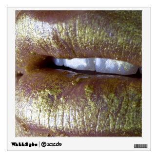 Beauty Photo Close Up Lips Gold Glitter Wall Decal