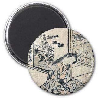 Beauty playing a koto by Kitao, Shigemasa Ukiyo-e Magnets
