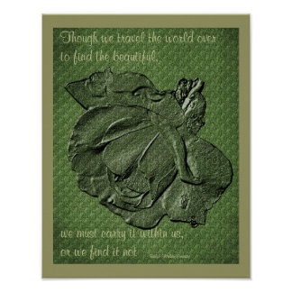 Beauty Quote Sculpted Rose Inspirational Poster