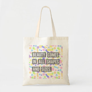 Beauty Quote Shapes Pastel Geometric Pattern Tote Bag