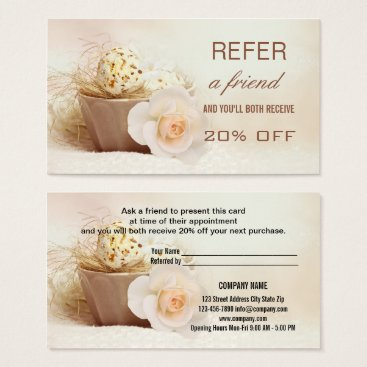 Beach Themed Beauty Referral Tell A Friend Business Card