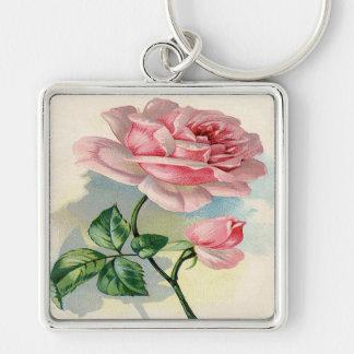 Beauty Rose Pink, Gray Keychain, Large, Premium Keychain