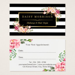 Beauty Salon Appointment Gorgeous Floral Decor Business Card