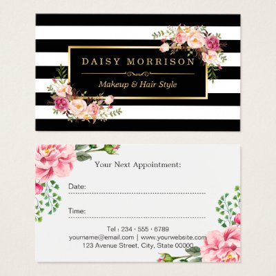 Beautiful floral gold frame black white stripes square business beautiful floral gold frame black white stripes square business card zazzle junglespirit Gallery