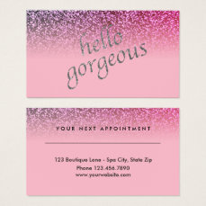Beauty Salon Appointment Hello Gorgeous Glitter Business Card
