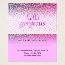 Beauty Salon Appointment Hello Gorgeous Quatrefoil Business Card