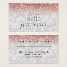 Beauty Salon Appointment Hello Gorgeous Rose Gold Business Card