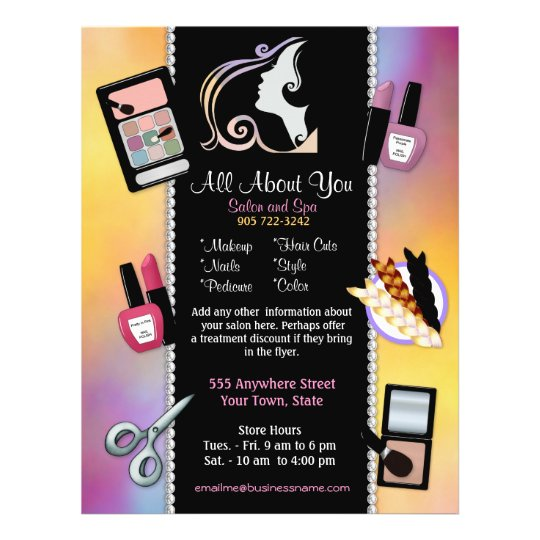 Beauty salon beautician and spa flyer for A b beauty salon