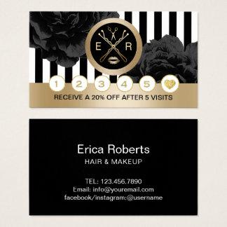 Beauty Salon Black Floral Modern Stripes Loyalty Business Card