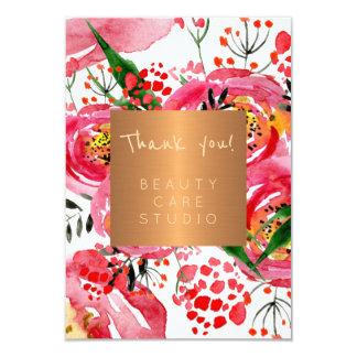 Beauty salon copper metallic peonies thank you card
