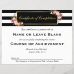 "Beauty Salon Course Certificate of Completion<br><div class=""desc"">================= ABOUT THIS DESIGN ================= Vintage Floral Black White Stripes with Gold Frame - Beauty Salon Course Certificate of Completion Flyer Template. (1) If you need any customization or matching items, please contact me. (2) You can find matching products (e.g. Business Card, Appointment Card, Flyer, Rack Card, Loyalty Card, Stationery...</div>"