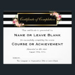 """Beauty Salon Course Certificate of Completion Flyer<br><div class=""""desc"""">================= ABOUT THIS DESIGN ================= Vintage Floral Black White Stripes with Gold Frame - Beauty Salon Course Certificate of Completion Flyer Template. (1) If you need any customization or matching items, please contact me. (2) You can find matching products (e.g. Business Card, Appointment Card, Flyer, Rack Card, Loyalty Card, Stationery...</div>"""