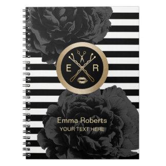 Beauty Salon Elegant Black Floral Modern Stripes Notebook