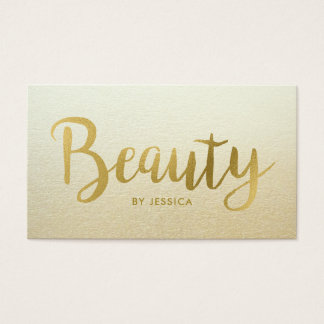Beauty Salon Faux Gold Foil Hair and Nails Business Card