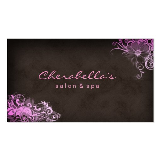 Beauty Salon Floral business card Pink Brown