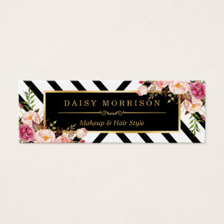 Beauty Salon Floral Gold Abstract Line Pattern Mini Business Card